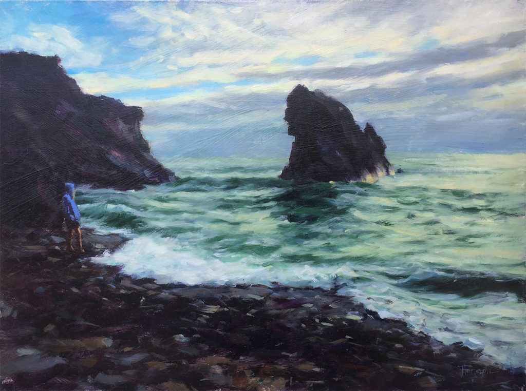 Girl and the sea original oil painting Jana Forsyth