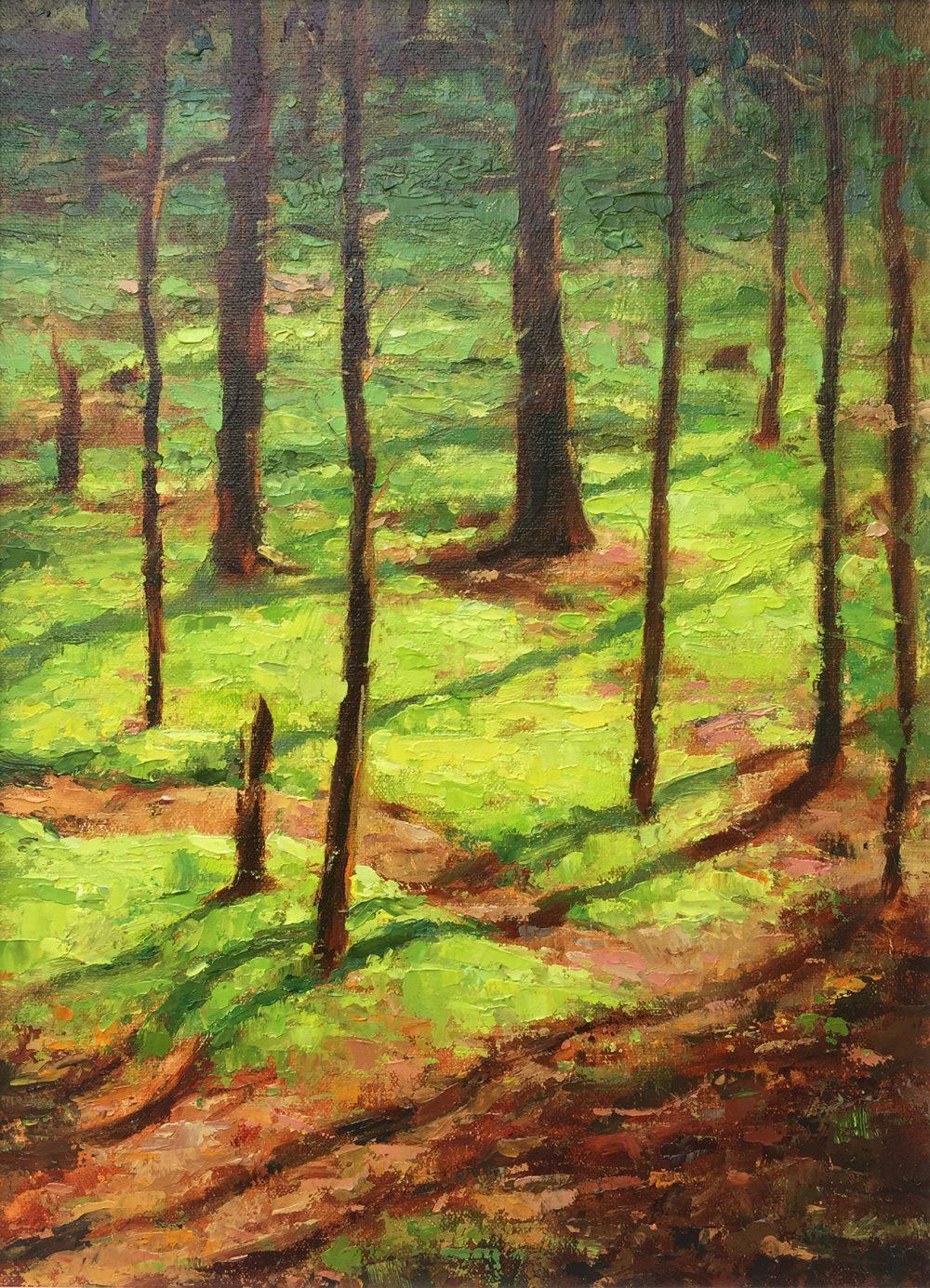 Trees, wood, oil painting