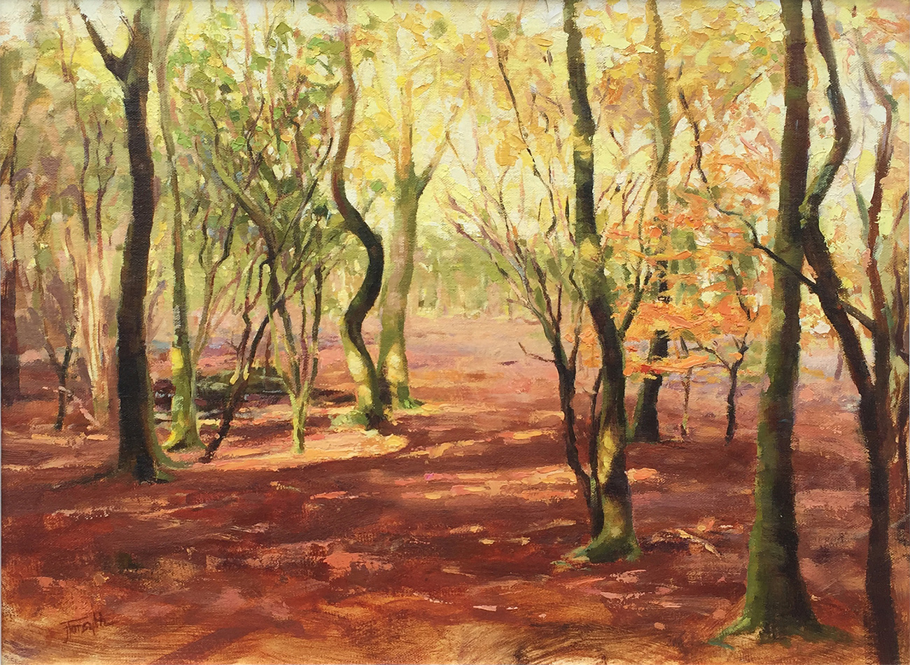 Oil painting savernake forest
